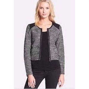 Eileen Fisher Gray Black Marled Tweed Moto Jacket